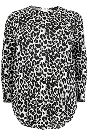 c8aba1be7a1b Women's Plus Size Animal Print Brushed Fine Knit Top with A Zip up Back Size  16