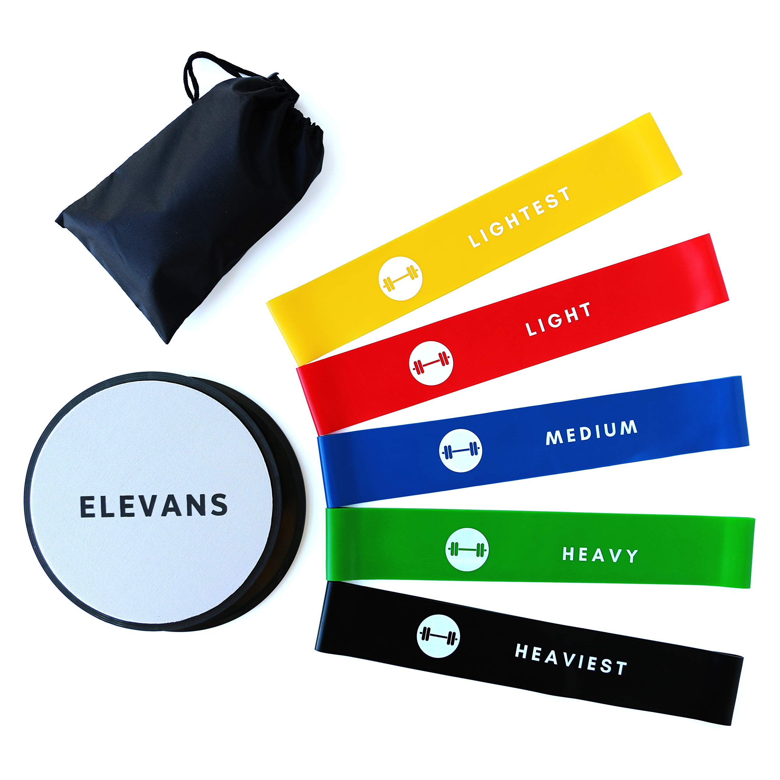 34fb819de61a Resistance Bands and Core Sliders Bundle - elevans Premium High Quality  Sliders Pair and 5 Levels of Resistance Bands