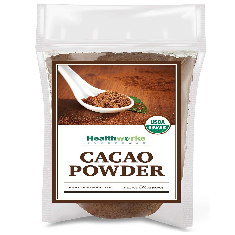 Healthworks Cacao Powder (32 Ounces / 2 Pounds)   Cocoa Chocolate Substitute   Certified Organic   Sugar-Free, Keto, Vegan & Non-GMO   Peruvian Bean/Nut Origin   Antioxidant Superfood