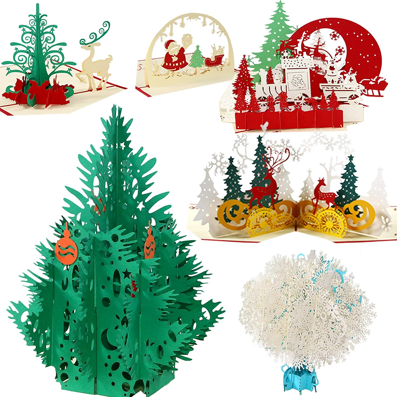 Pop Up Cards,3D Christmas Card Set of 6 Pack Unique 3D Holiday New Year Xmas Greeting PostCards with Envelopes,Handmade Thank You Card Gifts,Snowflake,Tree,Snowman,Reindeer