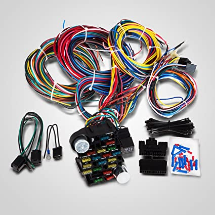 Amazon.com: VEVOR 21 Circuit 17 fuses Wiring Harness Street ...