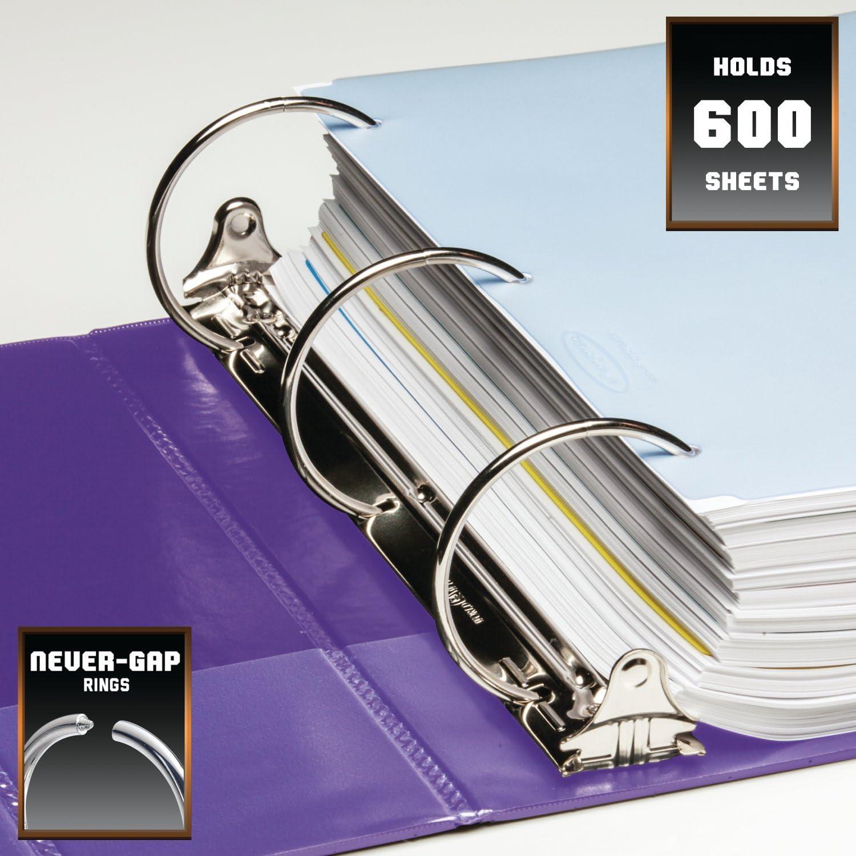 Wilson Jones Heavy Duty Round Ring Binder with Extra Durable Hinge W364-49-267 Purple 3-Inch