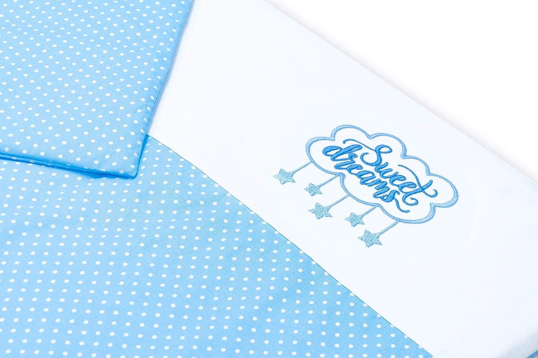 SWEET DREAMS P/ünktchen Hellblau, 2 tlg. Amilian/® Kinderwagenset mit Stickerei Baby Bettw/äsche Garnitur f/ür Kinderwagen