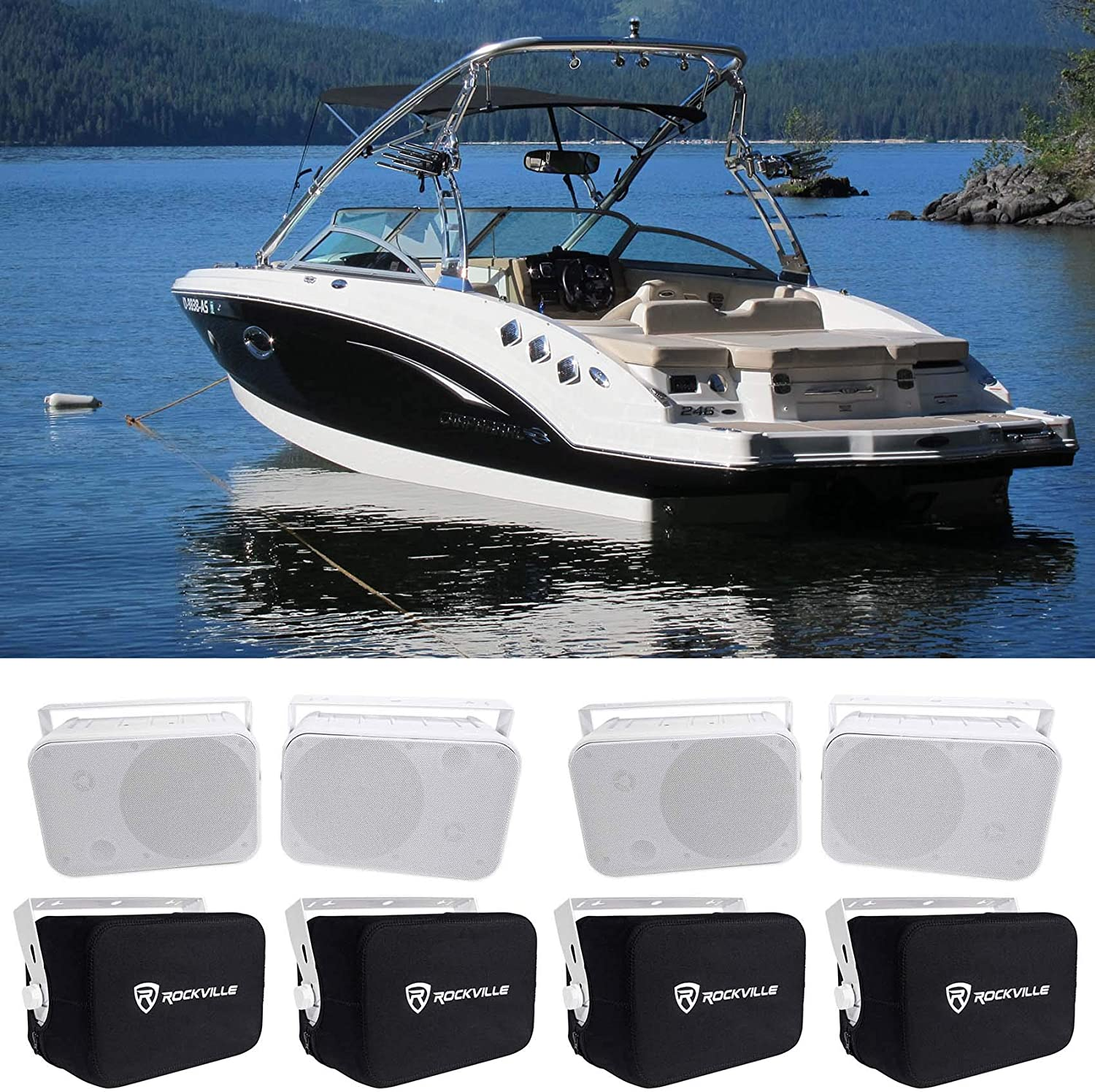 "(4) Rockville HP65S-8 6.5"" Marine Box Speakers+Swivel Brackets+Covers for Boats 81ncgFccb6LSL1500_"