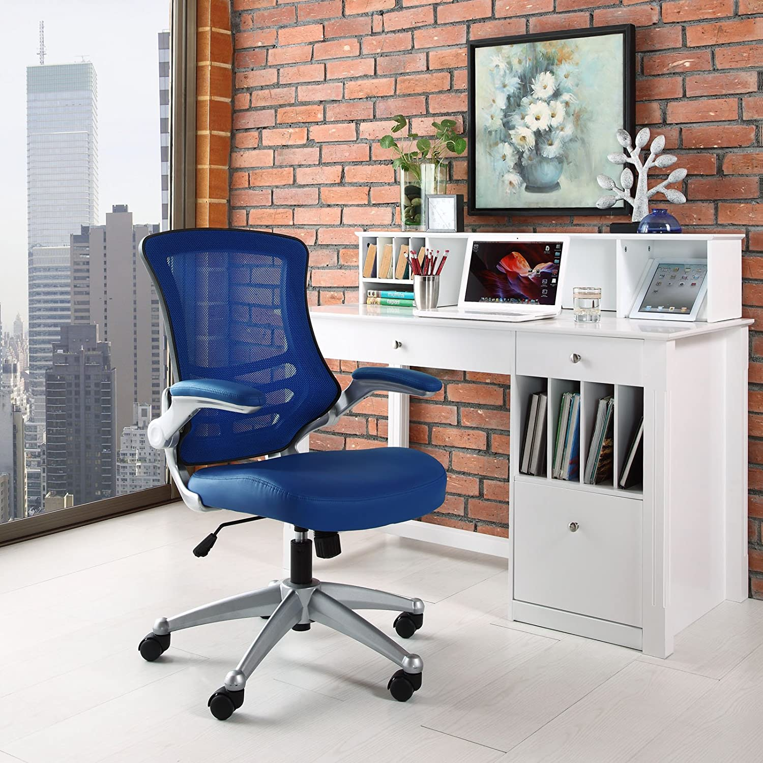 Amazon Modway Attainment Mesh Back And Blue Vinyl Modern Office Chair With Flip Up Arms