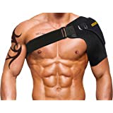 Vistery Shoulder Brace Support With Adjustable Strap, Breathable Neoprene, Comfy & Discreet Fit With Pad For Ice Pack, Minimize Soreness, Soothe Pains, Support Rotator Cuff, Dislocated AC Joint