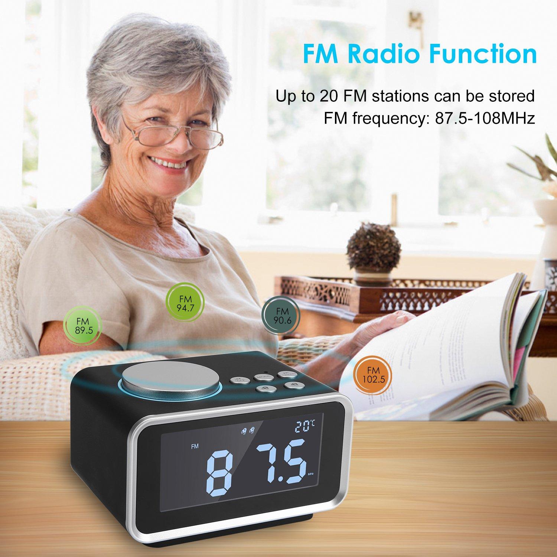 FlexDin Reloj Radio Despertador Digital K2 con Alarma Dual | Radio FM | 2 Puerto de Carga USB | Función Snooze | Brillo de 5 niveles | Termómetro de ...