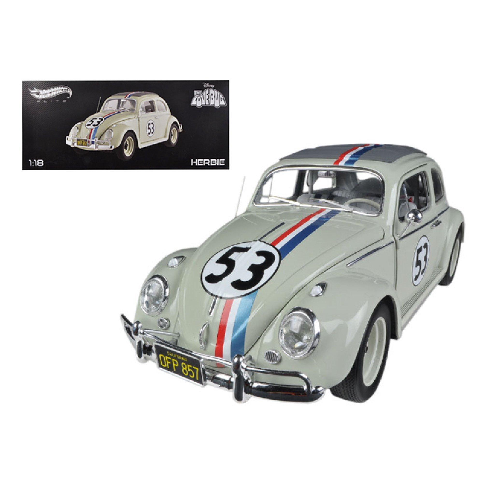 1963 Volkswagen Beetle The Love Bug'' Herbie #53 Elite Edition 1/18 Diecast Car Model by Hotwheels''