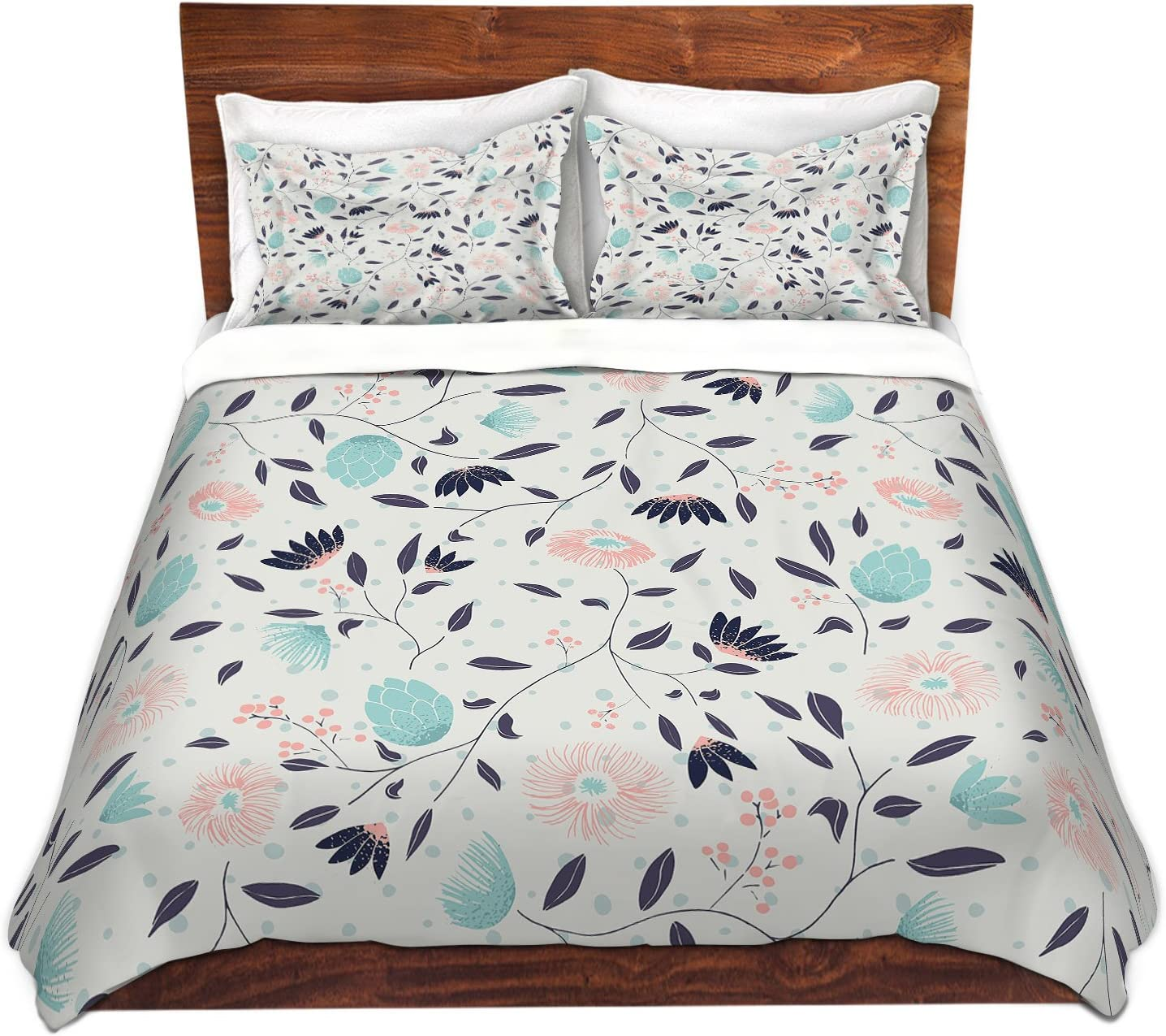 Amazon Com Dia Noche Designs Microfiber Duvet Covers Metka Hiti Midnight Bloom Blue Pink Home Kitchen
