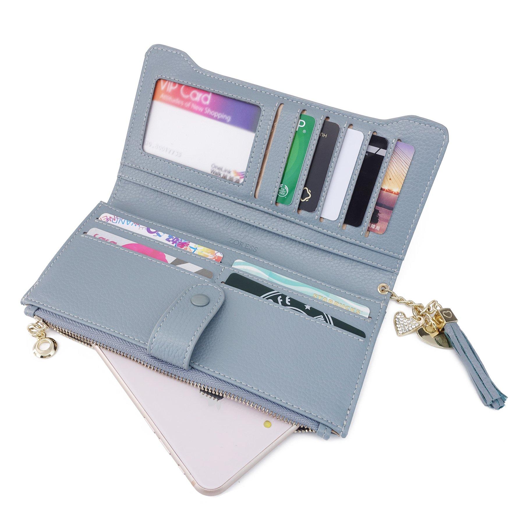 b215b034907e ZORESS Women's RFID Blocking Soft Leather Wallet Large Capacity ...