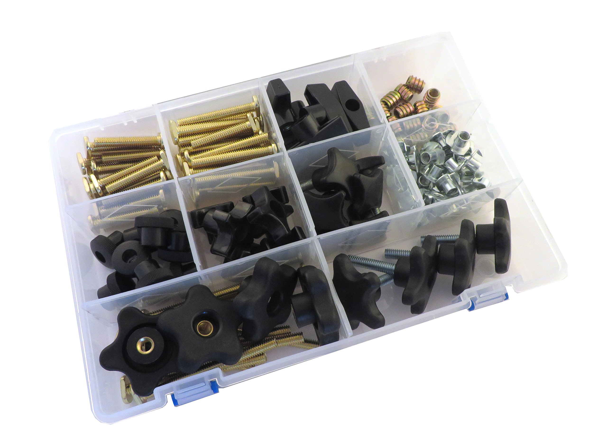 129 Piece Jig Fixture T Track Hardware Kit 1/4 20 Threads with Knobs, T Bolts, Threaded Inserts 129PJHK-1/4