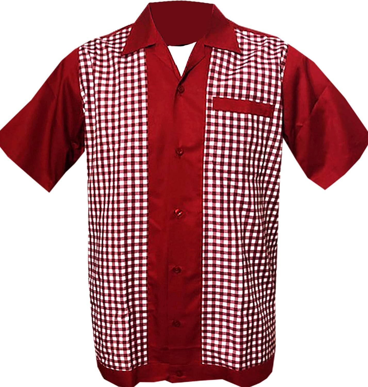 Rockabilly Fashions - Camisa informal para hombre, talla S a 3XL, diseño retro vintage, color rojo burdeos: Amazon.es: Ropa y accesorios