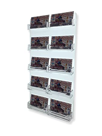 Amazon marketing holders wall mount 10 pocket business card marketing holders wall mount 10 pocket business card holder acrilyc horizontal wall mount pack of colourmoves