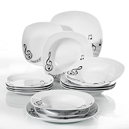 VEWEET 18 Piece Porcelain Dinnerware Sets Square Musical Note Patterns Plate  Sets Kitchen Plates,