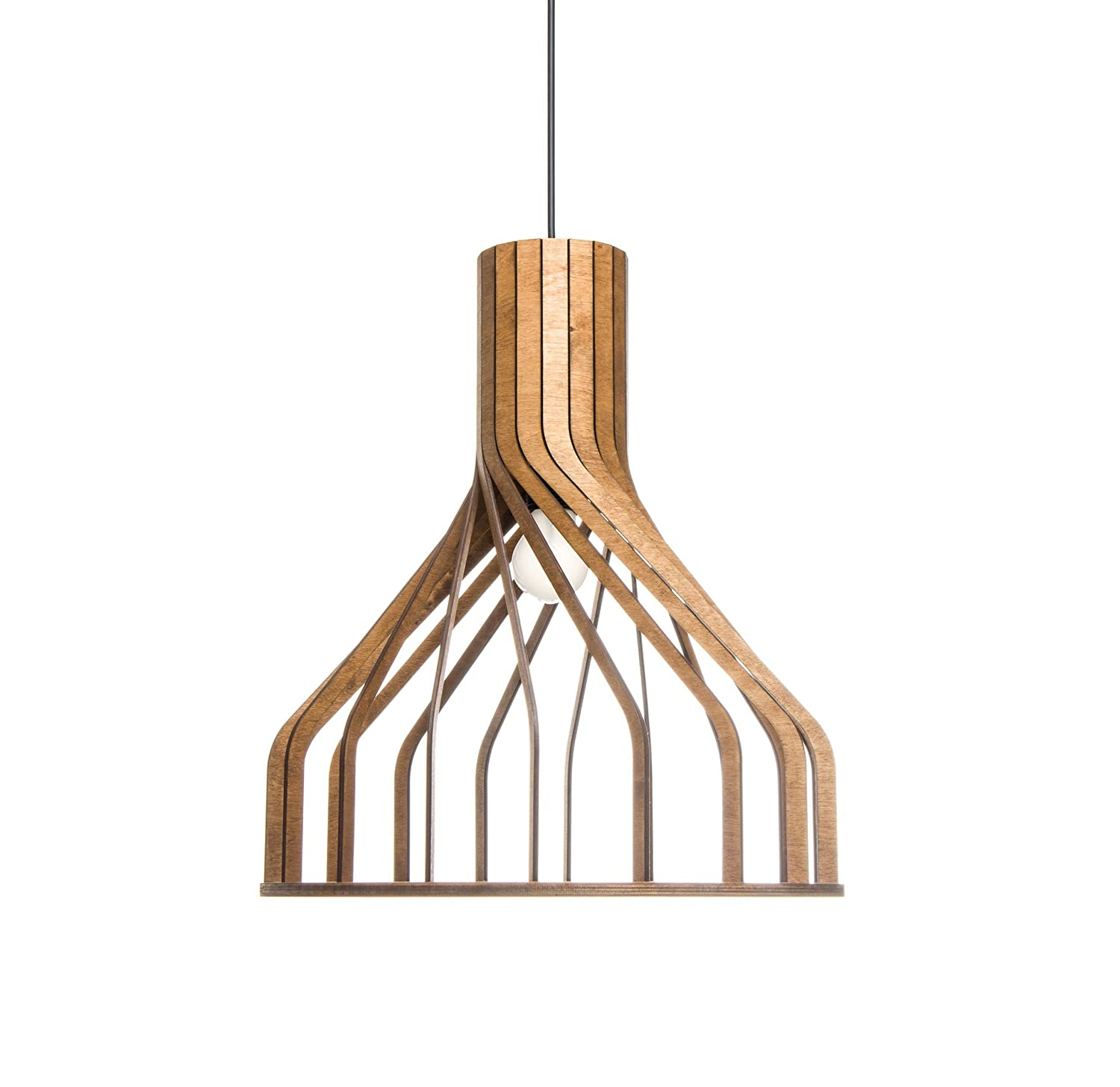 Wood Pendant Lighting For Kitchen Island Dining Room Living Room Hanging Light Fixture Unique Wooden Lampshade For Modern Minimalistic