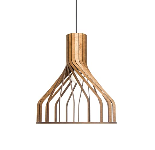 Wood pendant lighting for kitchen island - Dining room, living room hanging  light fixture - Unique wooden lampshade for modern, minimalistic, ...