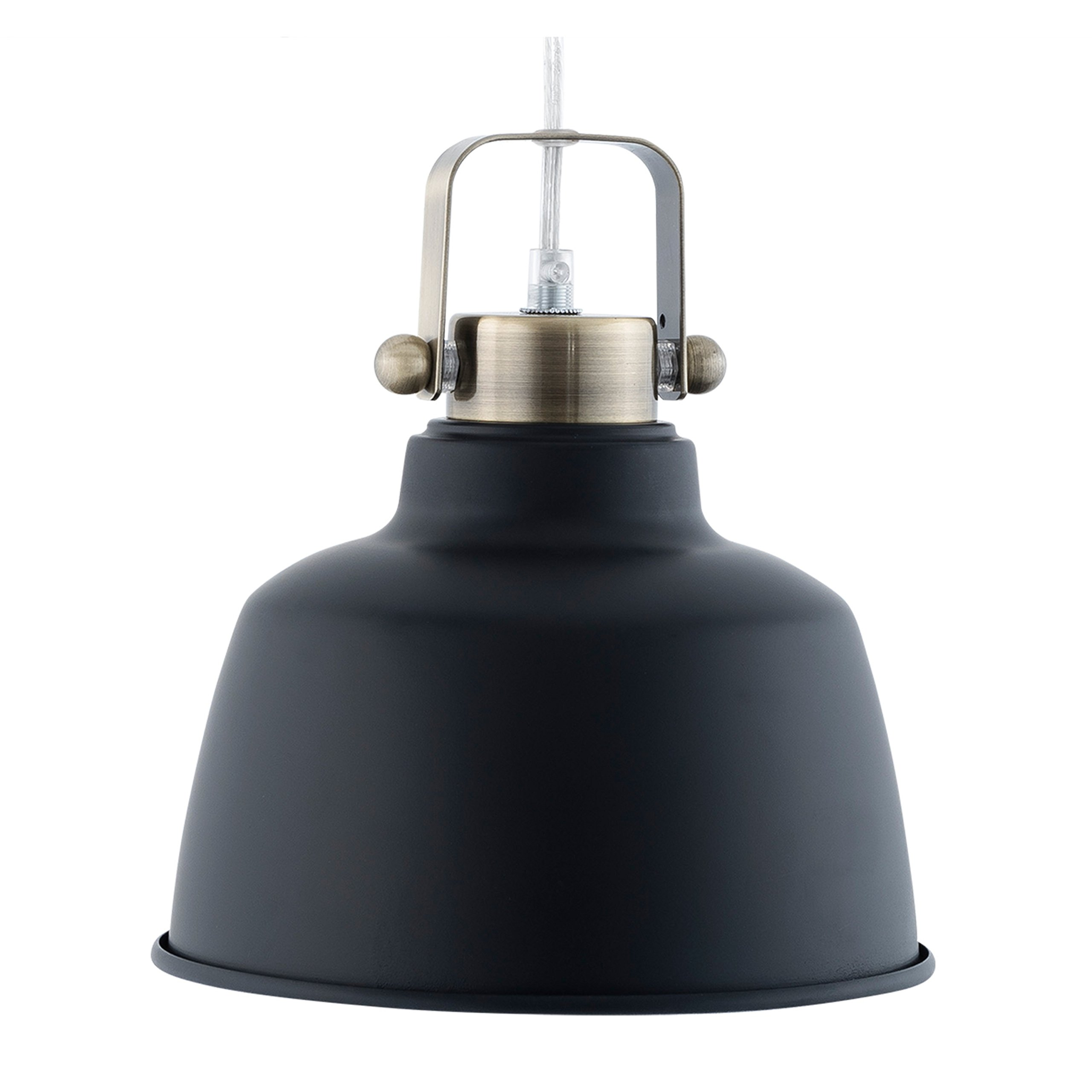 Light Society Mercer Mini Pendant Light, Matte Black Shade with Brushed Brass Finish, Modern Industrial Farmhouse Lighting Fixture (LS-C169-BLK)