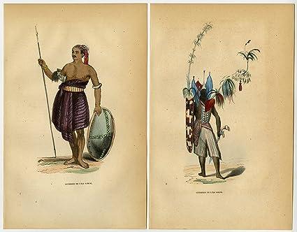 Amazon com: ThePrintsCollector 2 Antique Prints-SAVU-SOLOR