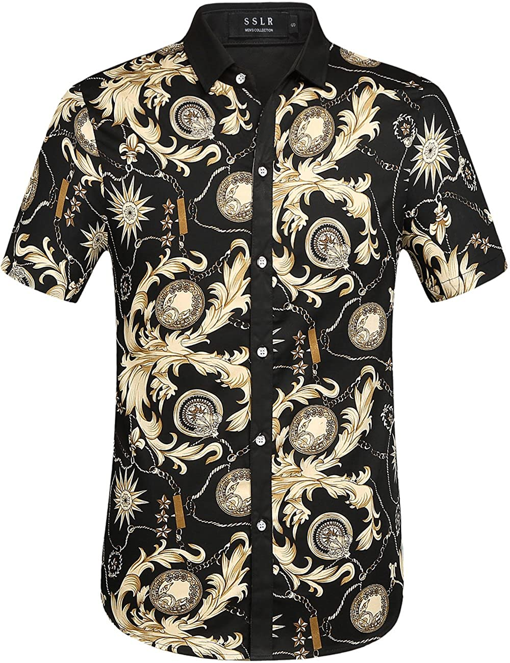 SSLR Mens Asterism Printed Short Sleeve Casual Button-Down Shirt
