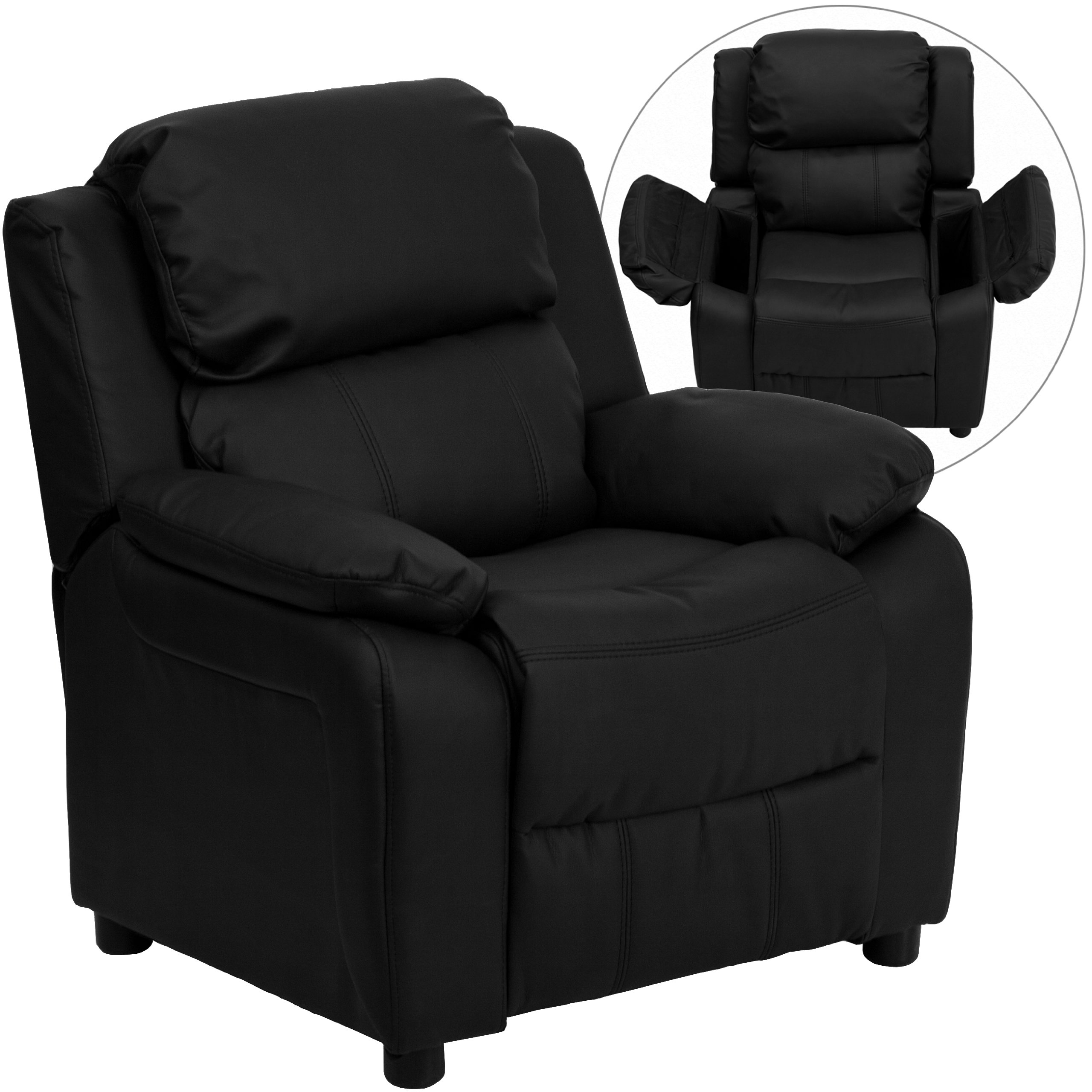 Winston Direct Kids' Series Deluxe Padded Contemporary Black Leather Recliner with Storage Arms