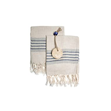 Set of 2 Linen Premium Quality Tea Towel Natural in Color and Eco-friendly Dish Towel, Hand-loomed Dishclothes, Cream Kitchen Towel Set, Hand Towel Set (Black)