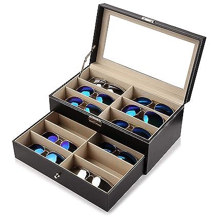 Kurtzy Caja Grande 12 Compartimentos Guardar Gafas de Sol, de Prescripción Caja Cuero Sintético Cierre con Llave Forro Negro Profesional con Ventana ...
