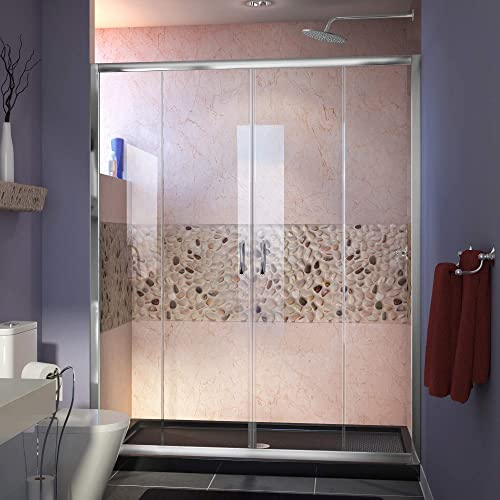 DreamLine Visions 30 in. D x 60 in. W x 74 3 4 in. H Sliding Shower Door in Chrome with Center Drain Black Shower Base, DL-6960C-88-01