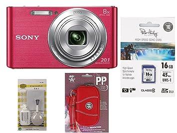 Sony DSC-W830 Rosa + fotográfico funda + 16 GB SDHC Tarjeta ...