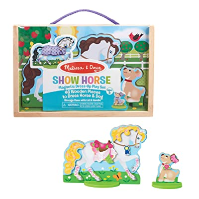 Melissa & Doug Show Horse and Dog Magnetic Dress- Wooden Figures Pretend Play Set (52 pcs): Toys & Games