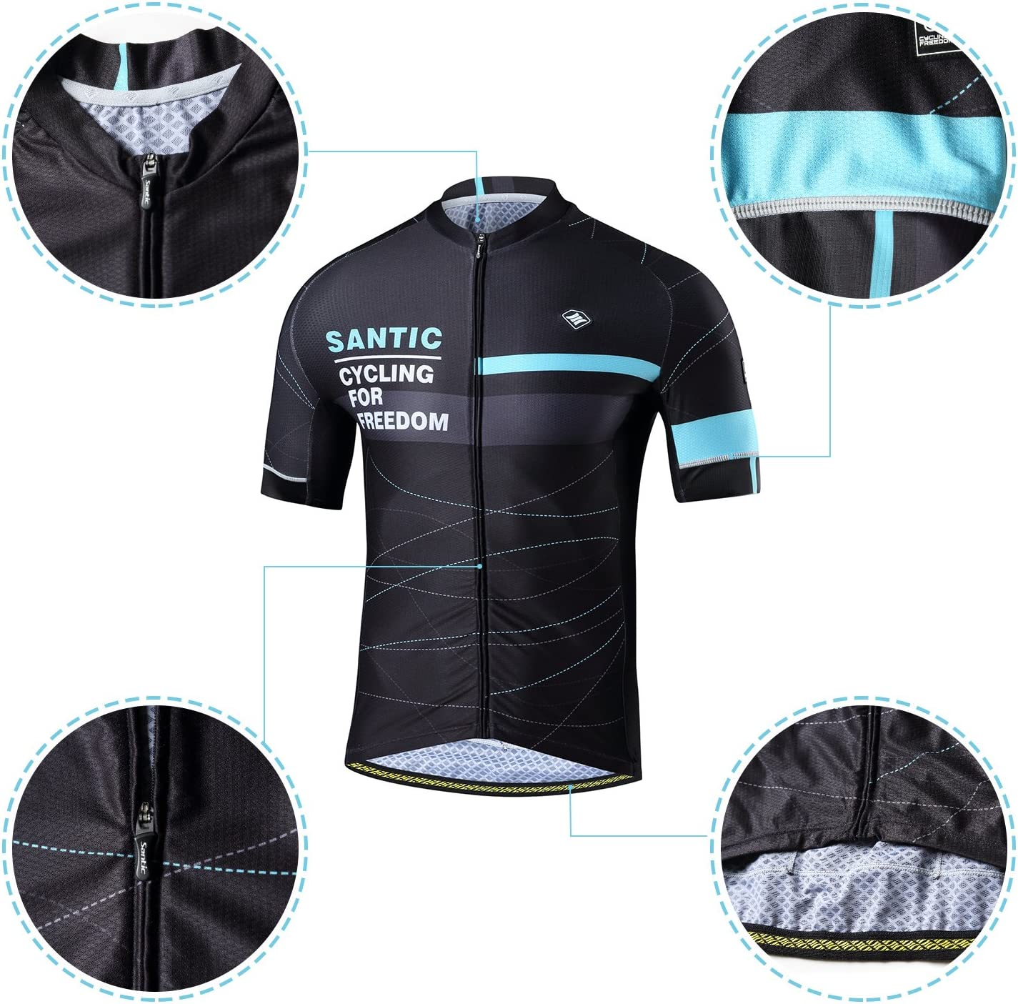 Santic Cycling Jerseys for Mens Cycling Jersey Short Sleeve Cycling Tops Mens Bike Jersey Quick Dry with Waterproof Pocket Antislip Back Hem