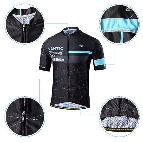 63735dbea Amazon.com   Santic Cycling Jerseys Men s Short Sleeve Full Zip Bike Jersey  with Pockets   Sports   Outdoors