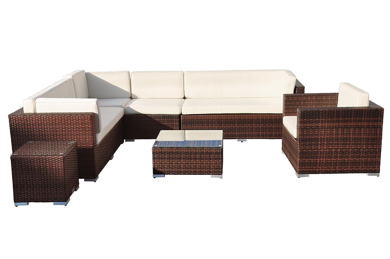 VILLANA exklusive Loungegruppe aus hochwertigem Polyrattan in braun, Kaffeetisch mit Glasplatte 65 x 65 x 65 cm, inkl. Polster, Gartenlounge für 6 - 8 Personen, Sessel, Couch, Loungehocker, wetterfest