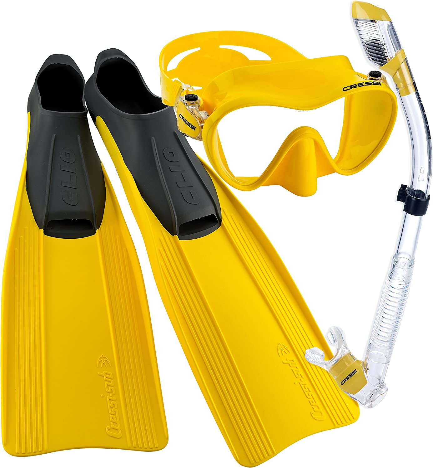 Yellow Size 10//11-Size 45//46 Cressi Clio Full Foot Fin Frameless Mask Dry Snorkel Set with Carry Bag