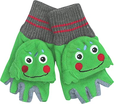 Kids Thermal 2 in 1 Combo Fingerless Animal Gloves /& Mittens