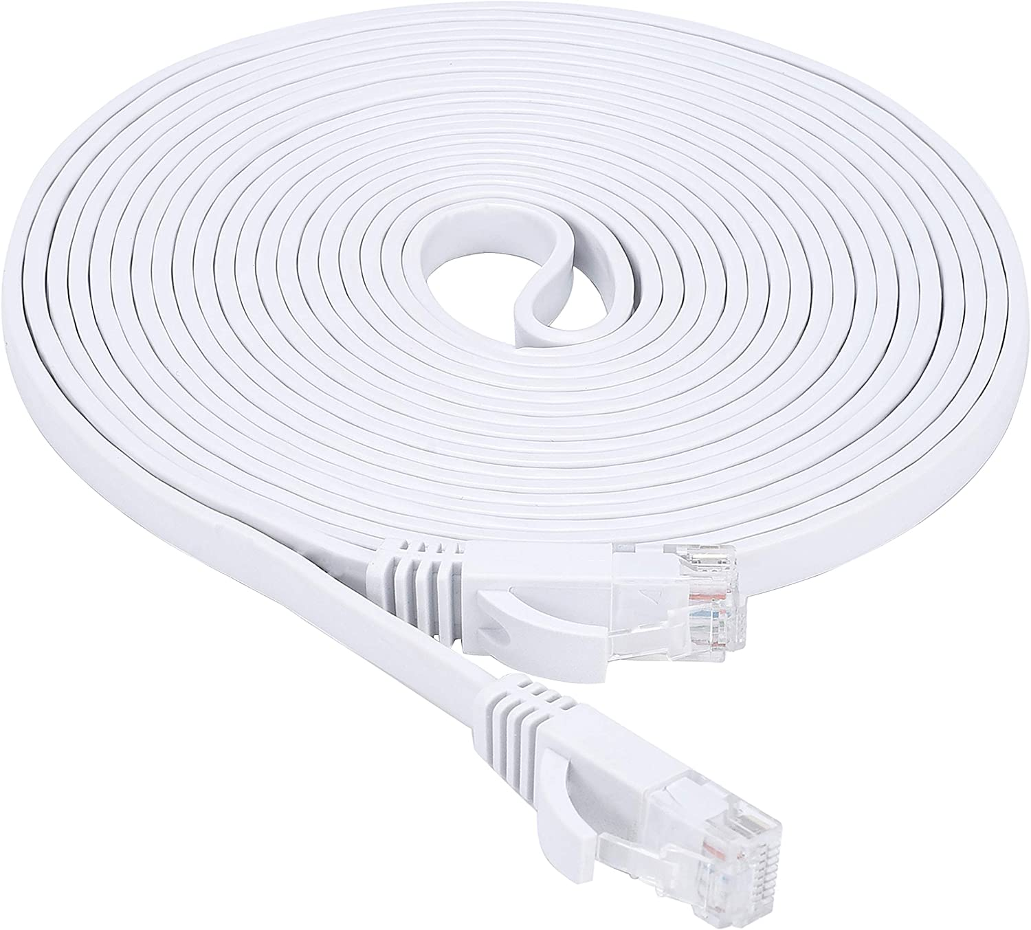 Cat6 Ethernet Cable 50 Ft, White Flat Network LAN Patch Cord with Clips & Snagless Rj45 Connectors for Router, High Speed Computer Wire Faster Than Cat5e Cat5 (50Ft, 1 Pack, White)