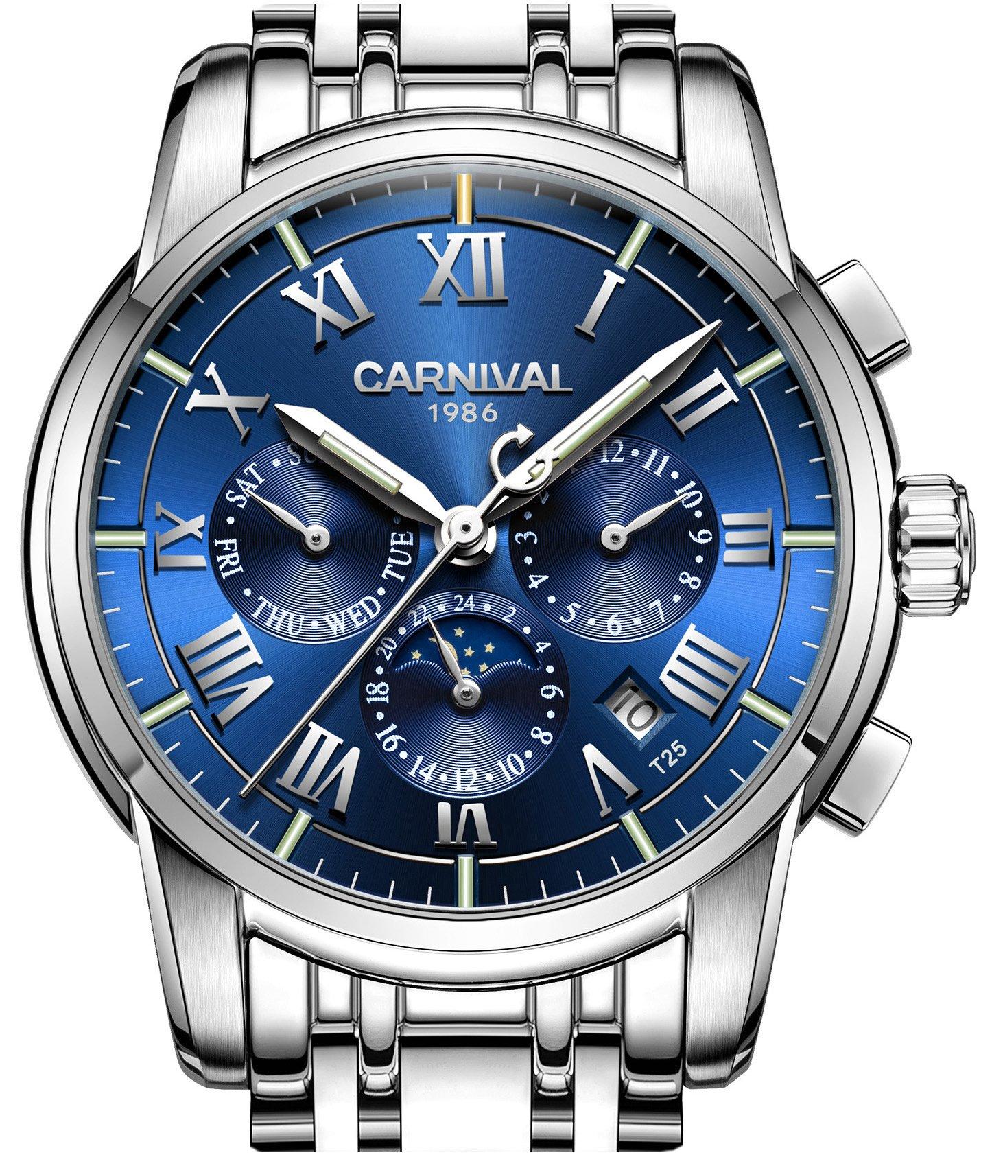 PASOY Carnival Men's Tritium Luminous Watch Automatic Mechanical Tourbillon Date Blue Dial Skeleton Watch