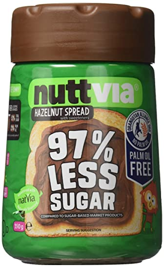 Nuttvia Hazelnut Spread with Sweeteners. Delicious   Palm Oil Free Hazelnut  Spread 350 g Jar 66b2988a1a2