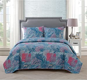 VCNY Home Ava 3 Piece Pinsonic Reversible Bedding Quilt Set, King, Multi
