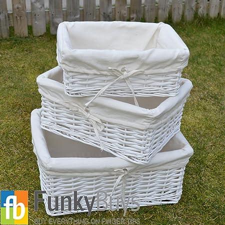 FunkyBuys® White Set of 3 S/3 Rectangular Wicker Storage Baskets With Lining & FunkyBuys® White Set of 3 S/3 Rectangular Wicker Storage Baskets ...