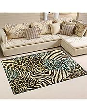 WOZO Animal Zebra Tiger Print Area Rug Rugs Non-Slip Floor Mat Doormats Living Room Bedroom 60 x 39 inches