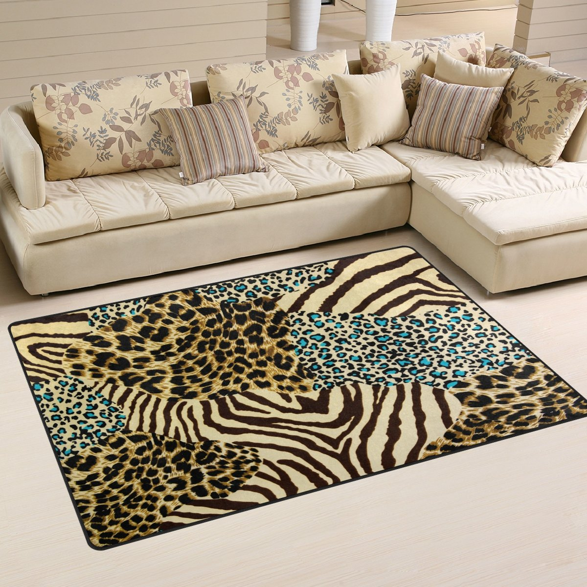 WOZO Animal Zebra Tiger Print Area Rug Rugs Non-Slip Floor Mat Doormats Living Room Bedroom 60 x 39 inches
