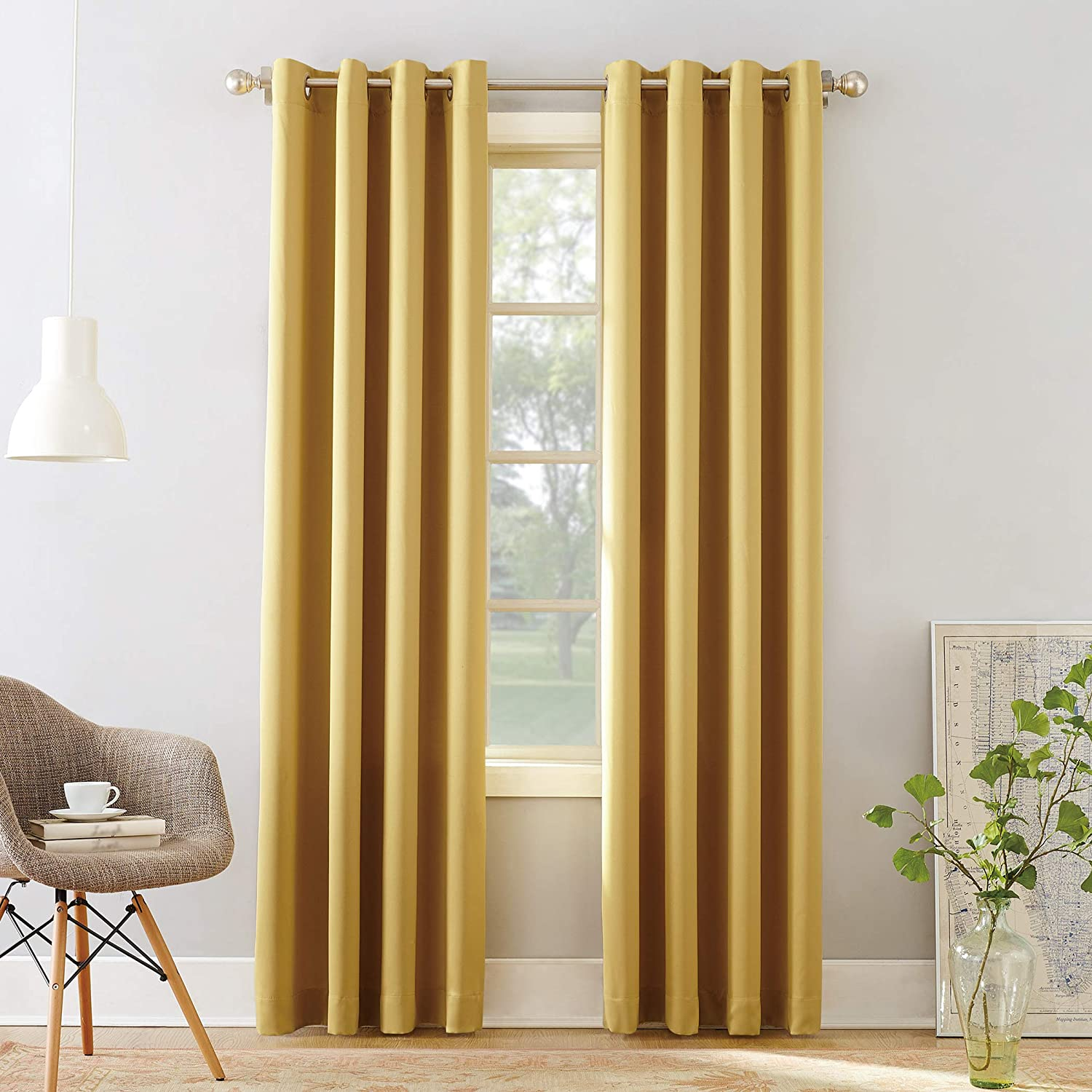 "Sun Zero 53244 Barrow Energy Efficient Grommet Curtain Panel, 54"" x 84"", Flax Yellow"
