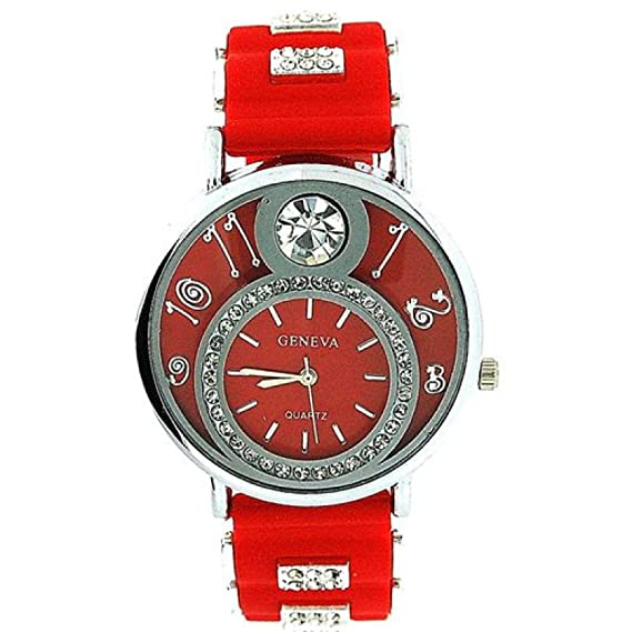 Geneva GE0637 red - Reloj, correa de silicona color rojo: Amazon.es: Relojes