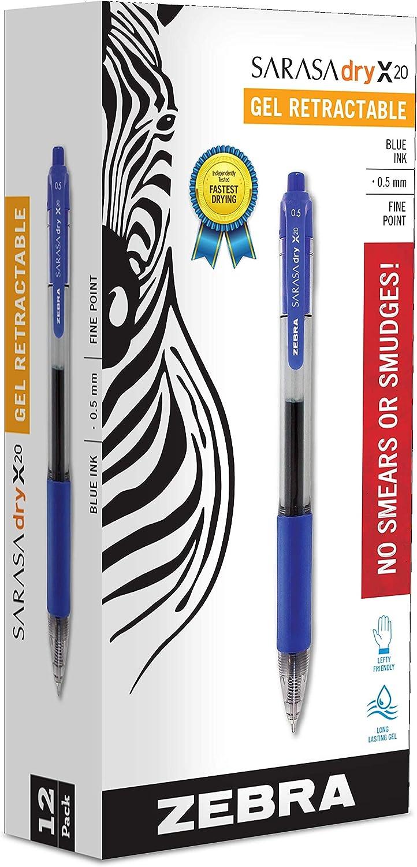 Zebra 46720 Sarasa - Bolígrafos de tinta retráctiles (punta fina, 0,5 mm, tinta de secado rápido, 12 unidades)