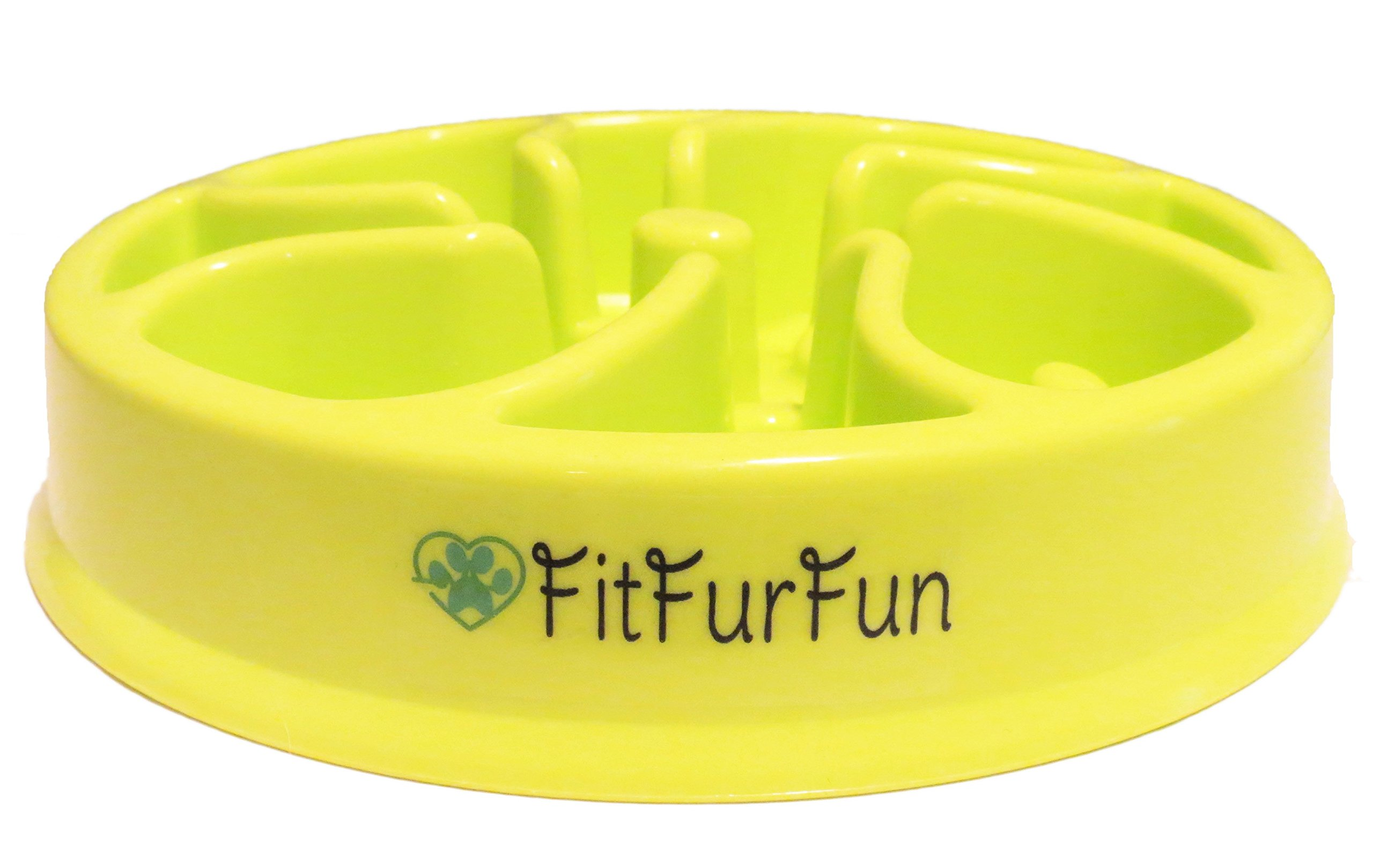 Slow Feed Dog Bowl for Fast Eaters by FitFurFun - (Promotes Healthy Digestion! Prevents Choking, Bloating, Regurgitation and Overeating!) GREEN