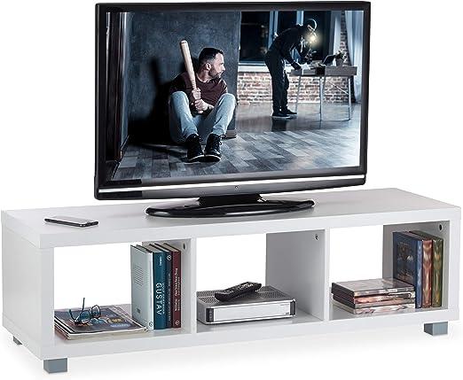 Relaxdays Mueble TV con 3 Compartimentos, Mesa Televisión, Tablero ...