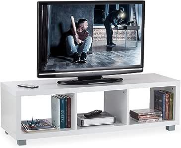 Relaxdays Mueble TV con 3 Compartimentos, Mesa Televisión, Tablero de Partículas, 36 x 120 x 39 cm, Blanco: Amazon.es: Juguetes y juegos