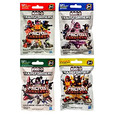 Hasbro Kre-O Transformers Micro Changers 4 Pack Bundle Includes: Collection 1, 2, 3 & 4 Mini Figure Blind Bag Mystery Packs (1 Pack of Each): Toys & Games