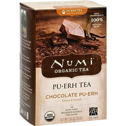 Numi Tea Organic Chocolate Pu-Erh - Estuche de 6 - 16 bolsas ...