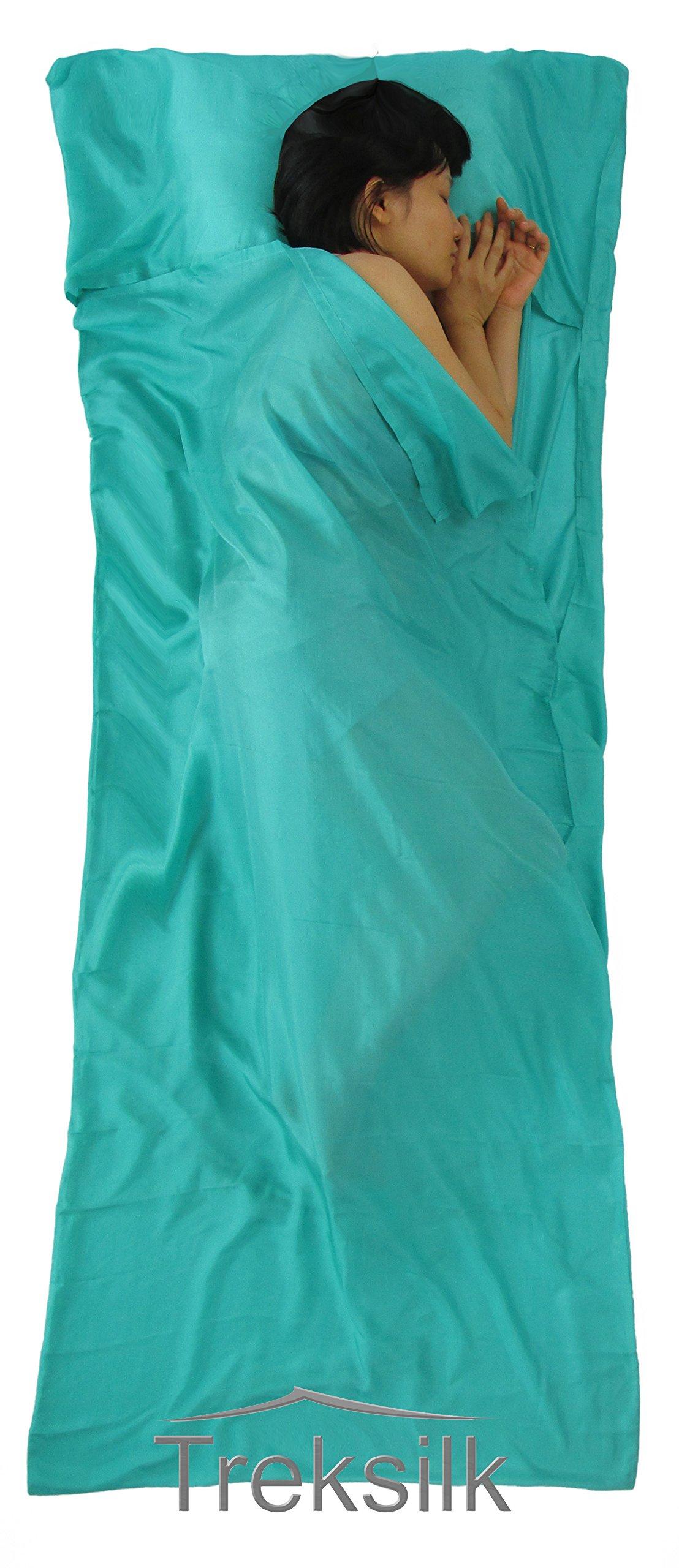Treksilk: 240 cm! 100% Mulberry Silk Single Sleeping Bag Liner Travel Sheet Sack (Turquoise) by Treksilk